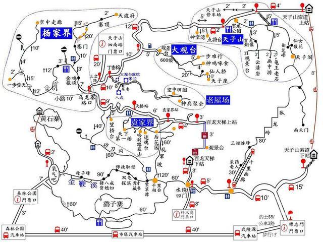 森林公园手绘地图 张家界旅游阿妹:莲妹儿推荐参考线路