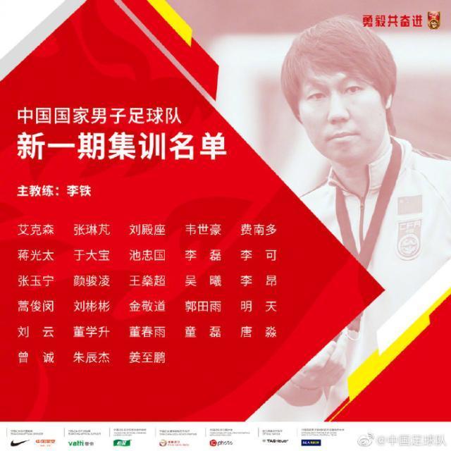 国足公布最新集训名单,蒋光太费南多首次入选
