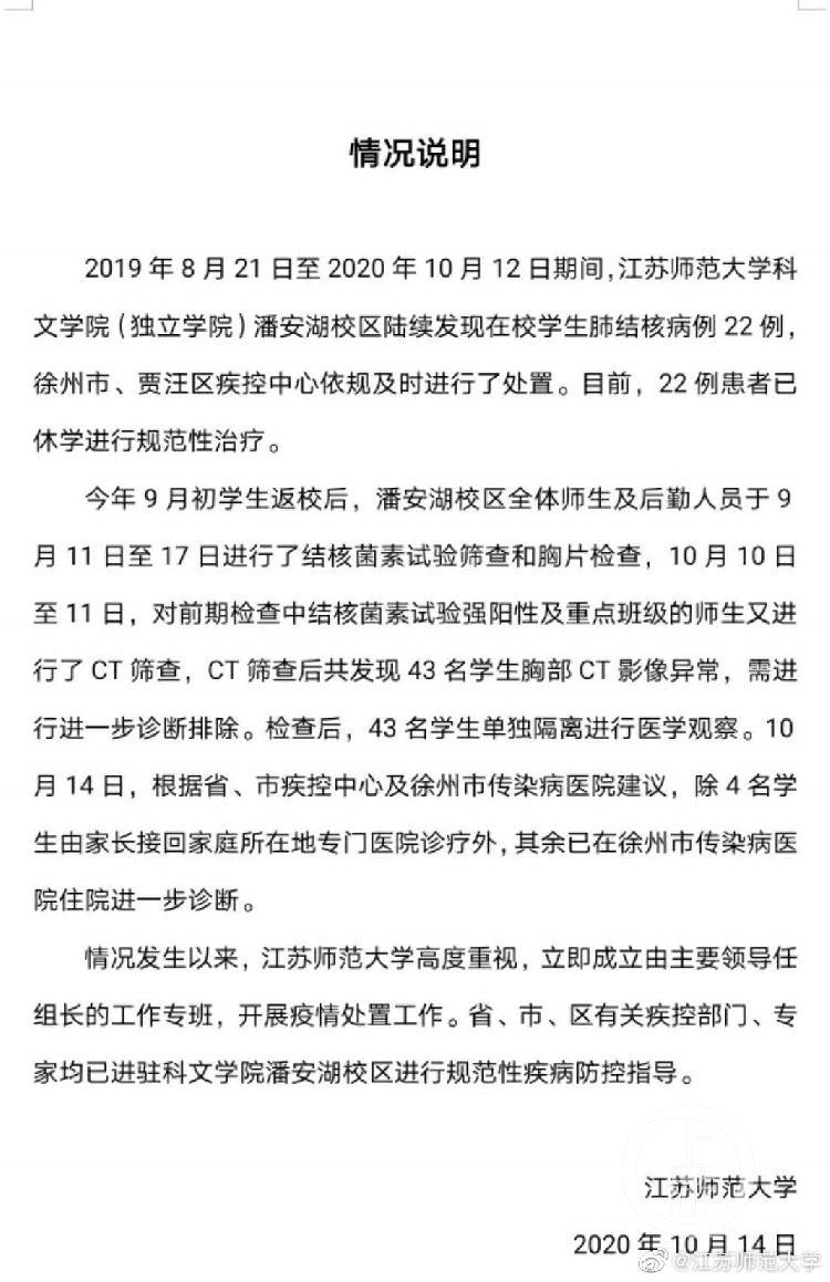 江蘇師范大學暴發肺結核數據:22名學生感染已
