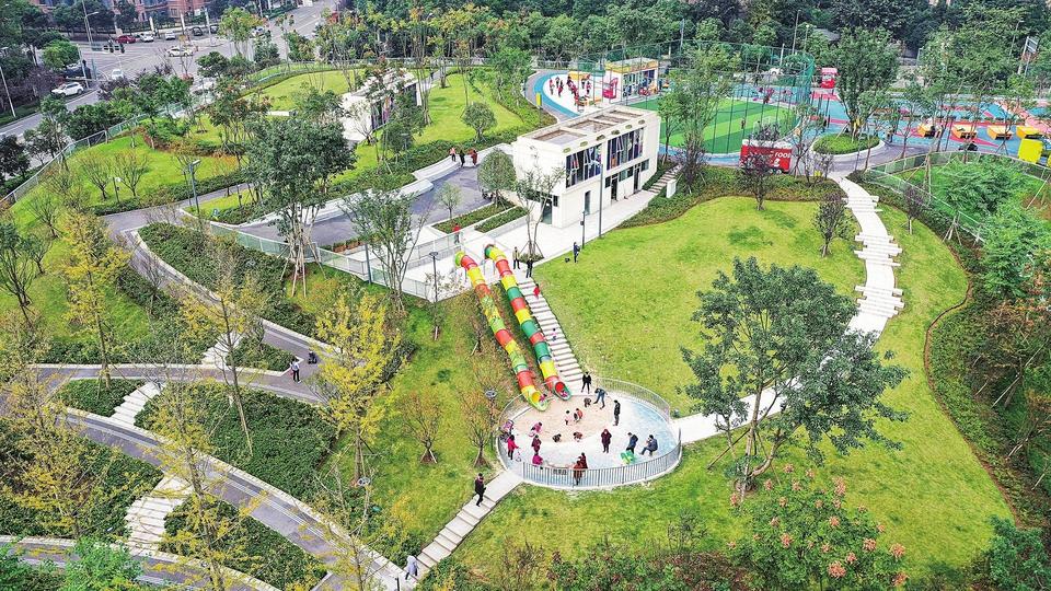 城市边角地变身社区体育文化公园