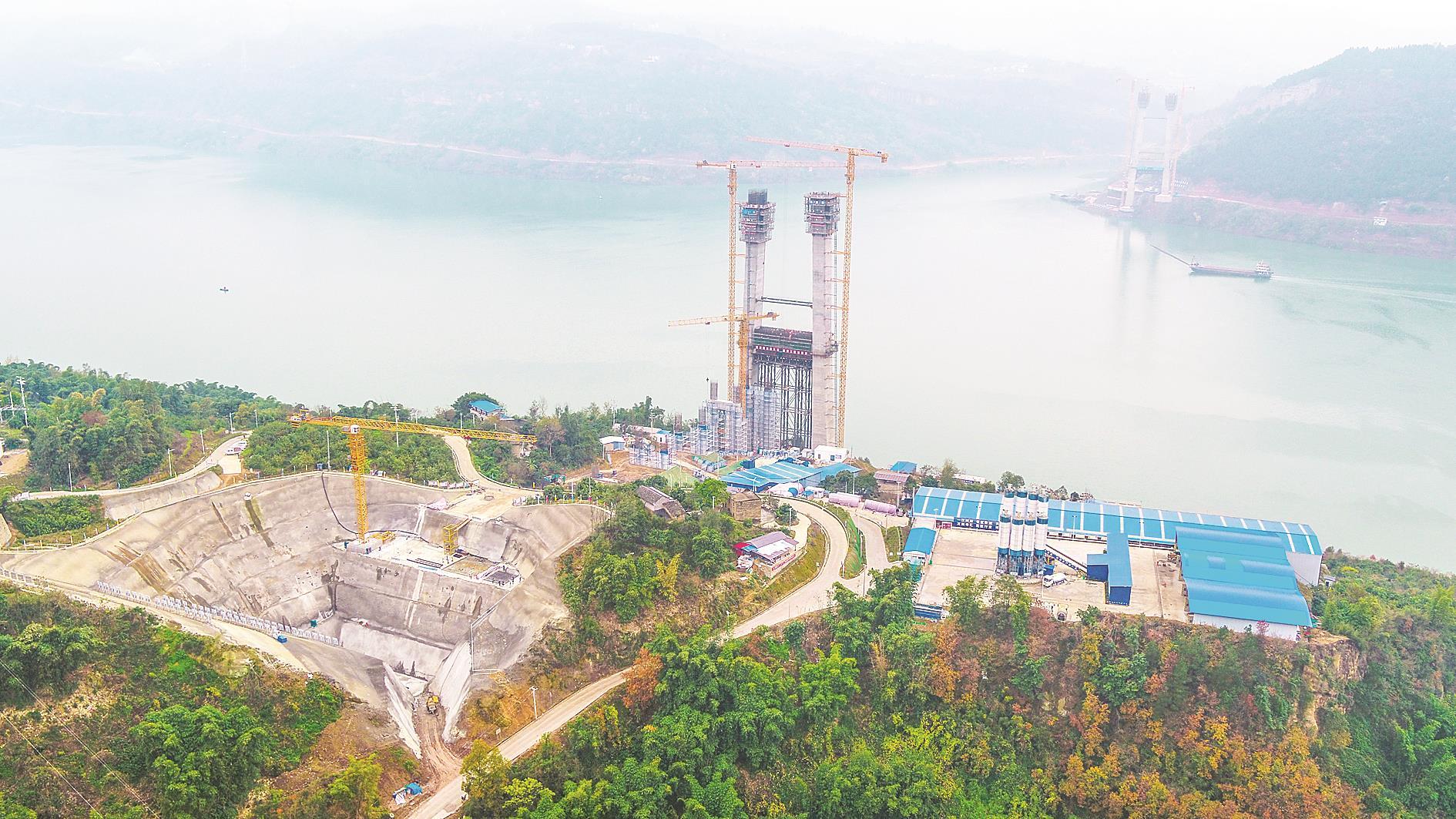 万州新田长江大桥 南岸主塔 今年底将升至120米