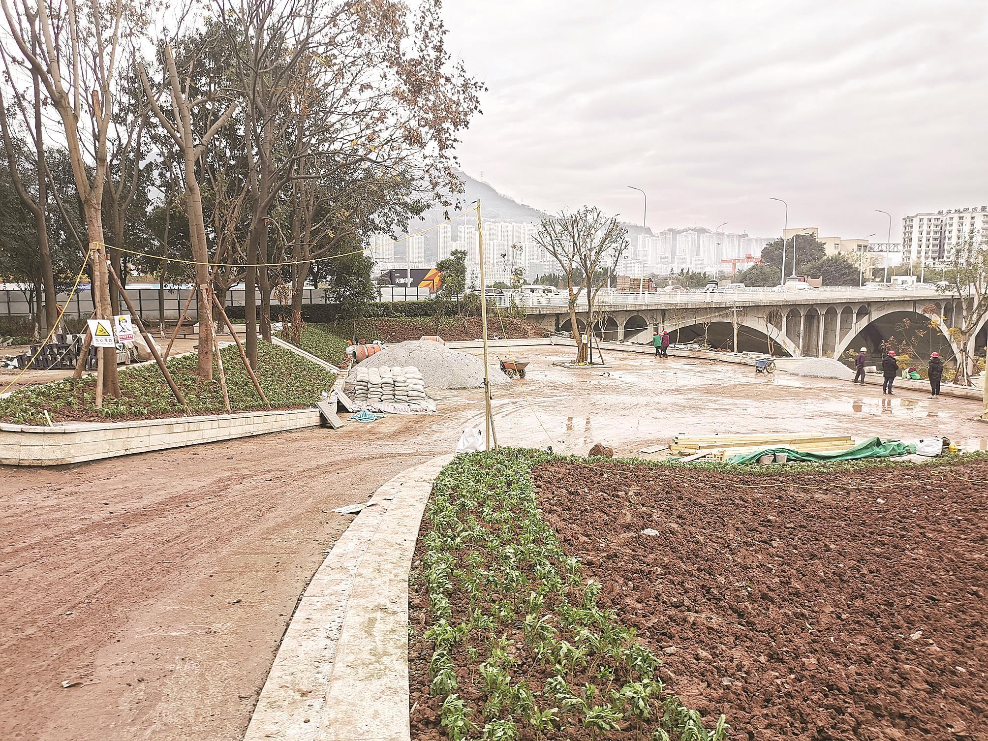 万州外贸桥头游园春节前完工开放
