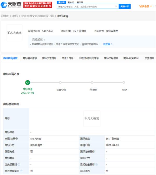 """防止被蹭热度,吴亦凡工作室注册""""大碗宽面""""商标插图"""