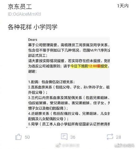 京东要求员工梳理亲戚同学关系疑为摸清公司裙带