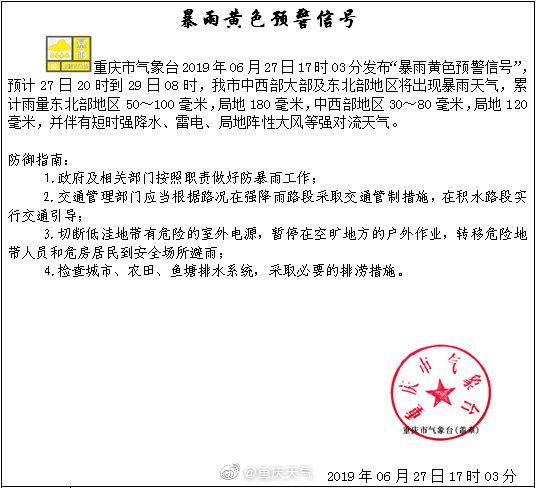 """重慶發布""""暴雨黃色預警信號"""":今晚八點起 多地將有暴雨"""