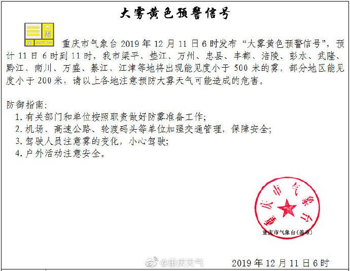 """重庆市气象台今晨发布""""大雾黄色预警信号"""""""