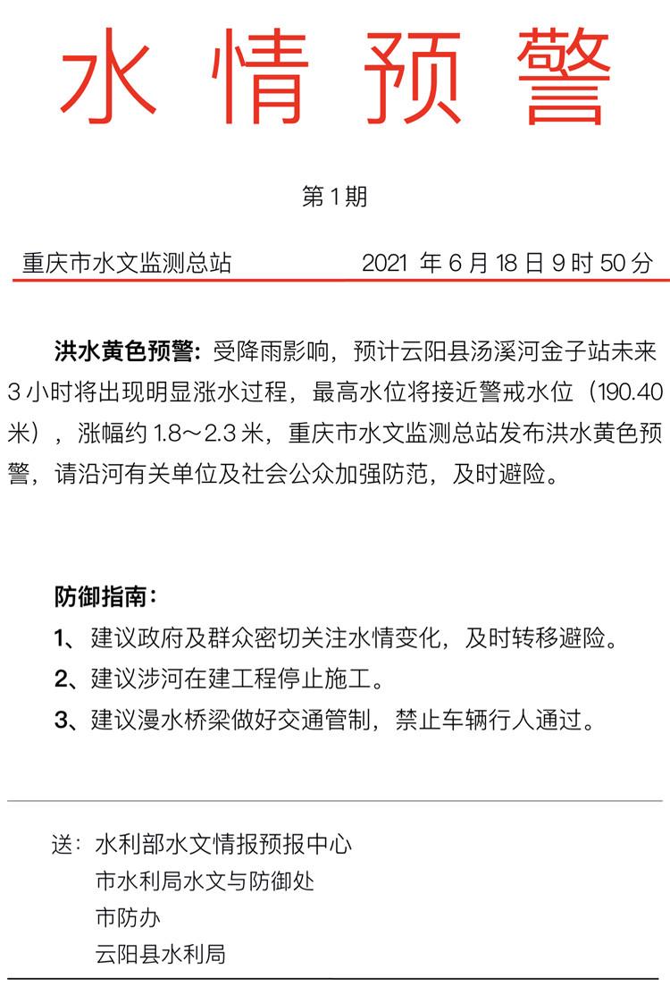 重庆发布2021年首个洪水预警 汤溪河将接近警戒水位