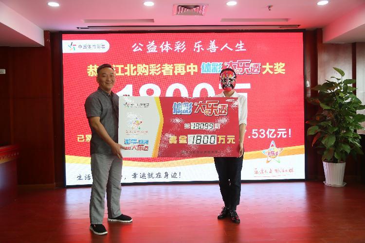 市体彩中心党总支委员赵剑(左)为大奖得主颁奖.jpg