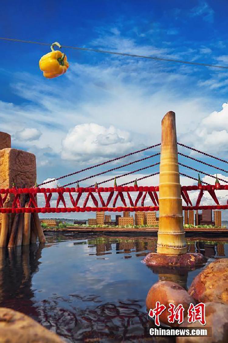 青年用9800种食材一个半月造出6座重庆网红地标